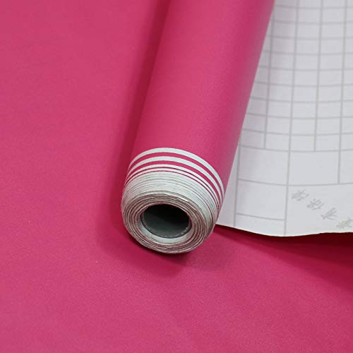 Einfarbige Tapete selbstklebend, Schlafzimmerwand, einfache weiße selbstklebende wasserdichte Wand matt gefrostet Rose 60 breit/pro Meter -
