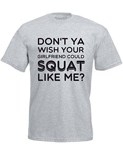 Brand88 - Squat Like Me, Mann Gedruckt T-Shirt Grau/Schwarz