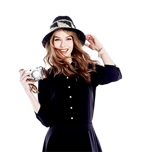 ACVIP Femme Chemisier à Manches 3/4 T-Shirt Casual en Coton avec Boutons Blanc Blouse Haute Top Noir