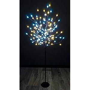 LED Deko Leuchtbaum 120 cm - 120 LED kalt und warmweiß - Lichterbaum mit Timer für Innen und Außen