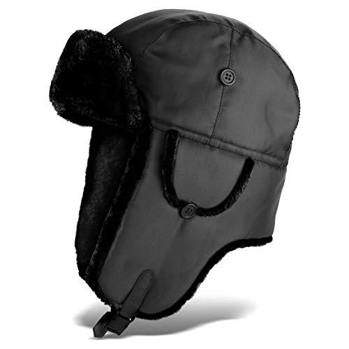 Black Snake Pilotenmütze   Fliegermütze   Pelzmütze   warme Wintermütze mit Ohrenklappen - Schwarz - XXL
