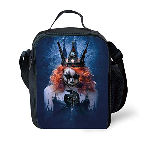 s Queen,Queen of Death Scary Body Art Halloween Evil Face Bizarre Make Up Zombie,Navy Blue Orange Black for Girls or Boys Washable ()