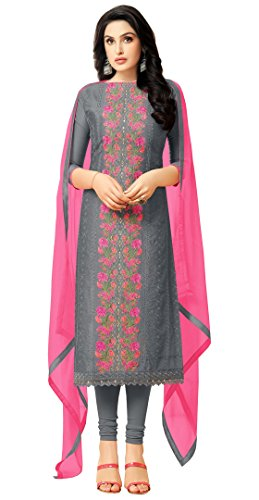Rajnandini Charcoal Heavy Chanderi Embroidered Salwar Suit Dress Material
