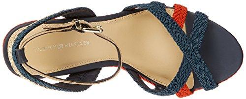 Tommy Hilfiger Damen Corporate Wedge Sandal Sporty Espadrilles Blau (Rwb 020)