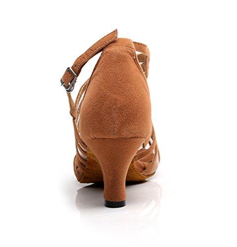 Femmes mode Minitoo QJ7036 effet daim écoles Latin Tango Chaussures de danse Marron