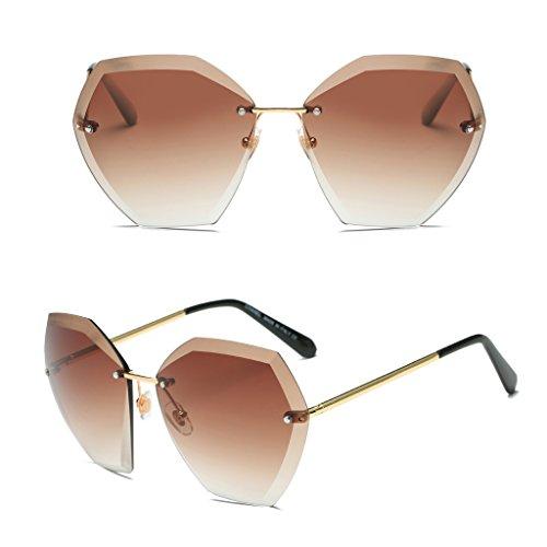 logres 1Fashion Frauen Randlos Kristall Schnitt Designer Gradient Objektive Sonnenbrille Eyewear Shades NEU (# 011)