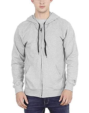 FLEXIMAA Men's Cotton Hoodie (Grey Milange, Small)