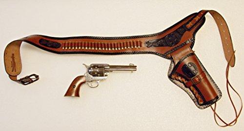 Preisvergleich Produktbild Revolvergürtel Coltgürtel Pistolengürtel mit 24 Dekopatronen aus Messing und Colt Peacemaker