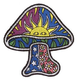 "Preisvergleich Produktbild Dan Morris - MUSHROOM - Toadstool Sun Leaves Stars Daisies - 3.25""x3.25"" - Broderet Patch Embroidered Patch"