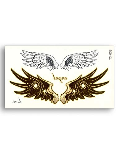 Astty adesivo tatuaggio ali d'angelo love falso tattoo metallico gold sliver impermeabile temporary word stickers water transfer glitter body art