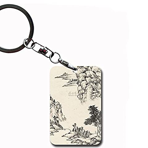 Generic For Key Ring For Women Mdf Material Amusing Print Asian Chinese Painting 2