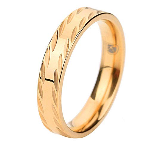 Onefeart Oro Plated Anillo Mujeres Los Hombres Corrugated