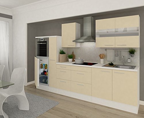 Respekta Premium Küchenzeile RP300HWVA 300 cm Vanille-Weiß