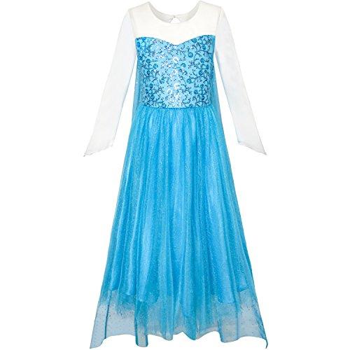 Für Jugendliche Elsa Kostüm - Sunboree Mädchen Kleid Karikatur Kostüm Prinzessin ELSA funkelnd Party Gr. 146