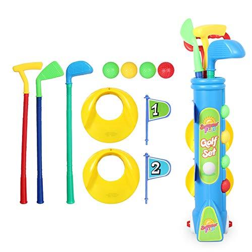Melodycp Deluxe Kinder-Spielzeuggolfset 4 Golfbälle, 3 Schlägertypen, 2 Übungslöcher, perfektes Golfset für Kinder (Farbe, Größe : 51 * 11.5cm) (Iphone Fall Golf 4)