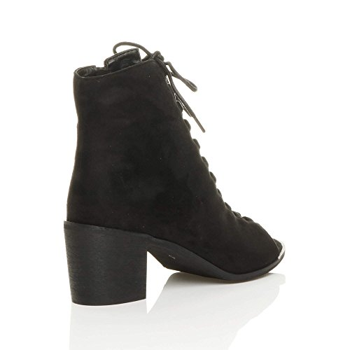 Damen Mittlerer Blockabsatz Schnür-Pumps Peeptoes Stiefeletten Schuhe Größe Schwarz Wildleder