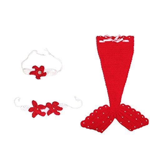 MagiDeal Meerjungfrau Infant baby Kostüm Fotografie Hut Set Handarbeit Häkelarbeit - Rot, one - Machen Sie Ein Meerjungfrau Kostüm