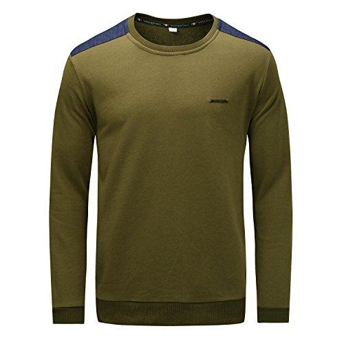 Kuson Herren Sweatshirt Langarmshirt Pullover Rundhals Warm Basic Army Grün