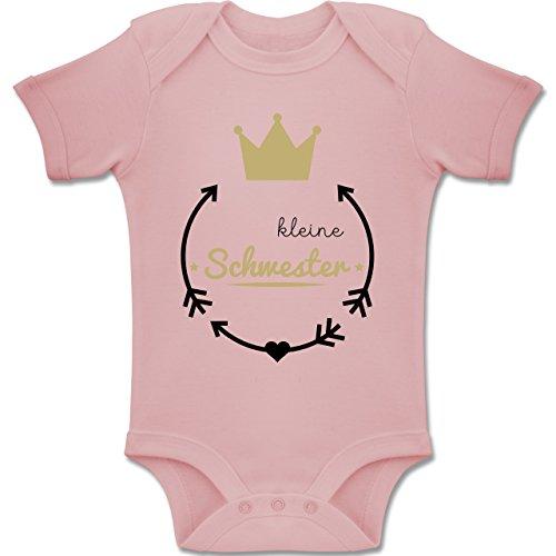 Shirtracer Geschwisterliebe Baby - Kleine Schwester - Krone - 1-3 Monate - Babyrosa - BZ10 - Baby Body Kurzarm Jungen Mädchen (Große-bruder-schwester-shirt)