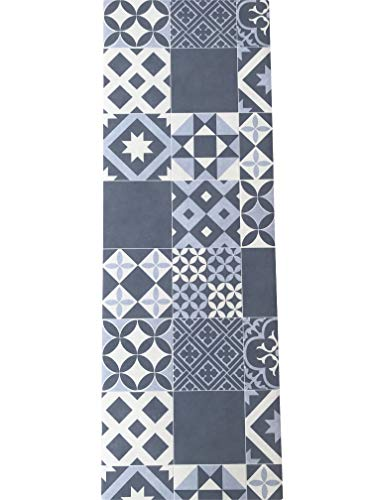 Lavelahome tappeto cucina a metraggio pvc largo 50 cm marmette cementine azulejo (avion1)