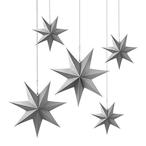 5 Frau Wundervoll Faltsterne matt grau, 2 x 40 cm, 3 x 25 cm 7 Zacken Weihnachtsstern Papiersterne