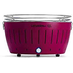 LotusGrill Holzkohlengrill Serie 435 XL, Farbe Pflaume, 43,5 x 43,5 x 28,5