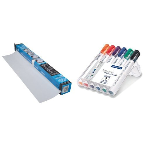 magic-whiteboard-and-staedtler-lumocolor-whiteboard-marker-351wp6-bullet-tip-assorted-colours-pack-o
