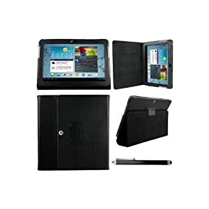Samsung Galaxy TAB 2 10.1 P5100 - (Black) Leather Case Cover and Flip Stand Typing Case Wallet Plus Free Stylus Pen
