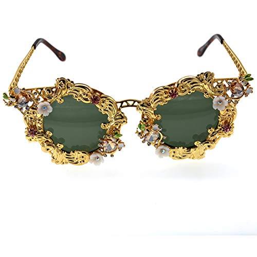 UV-Schutz for das Fahren Reisen Sommer Strand Metallrahmen Bunte Crystal Lady Barock-Sonnenbrille Brille (Farbe : Gold)