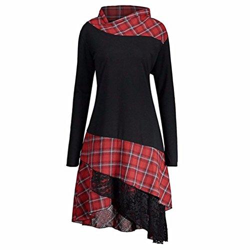 OverDose Damen Elegant Langarm Kariertes T-shirt Kleider Blusen Kleider Casual Spitze Patchwork Partykleider Blusenkleid(A-Black ,EU-42/CN-XL )