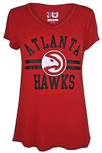 UNK Damen S/S gemischt NBA Relaxed Fit V-Ausschnitt Kurze Ärmel T-Shirt Top, damen, Co-Ed Top, rot