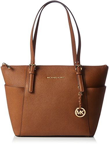 Michael Kors Jet Set Top-Zip Borsa Tote, Donna, Marrone (Luggage)
