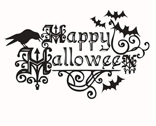 QTXINGMU Schwarze Happy Halloween Deko Fledermaus Herausnehmbare PVC Wand Aufkleber Home Decor Wallpaper Für Kinder Partei Zimmer