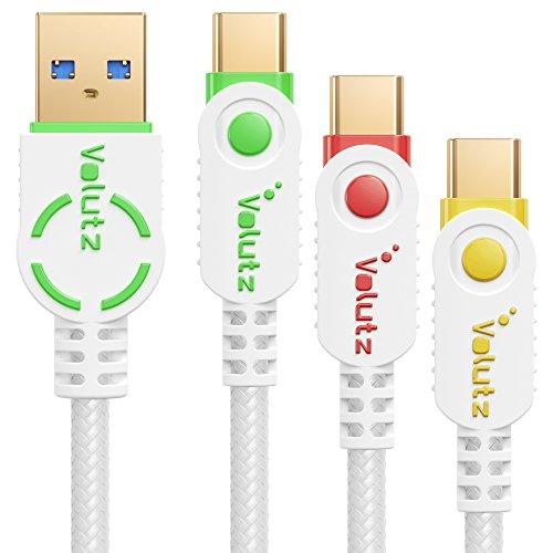 Volutz USB C Kabel - Typ C auf USB 3.0, Nylon ummantelt (2m,1m,0,3m) - Weiß Farb kodiert - 3er Pack