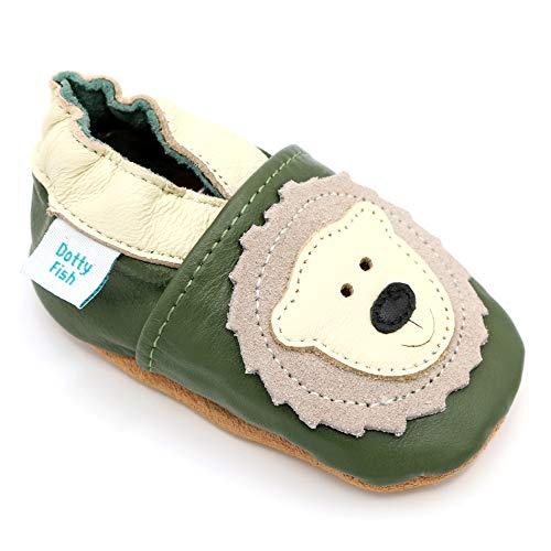 Dotty Fish weiche Leder Babyschuhe mit rutschfesten Wildledersohlen. 12-18 Monate (21 EU). Bär Design auf olivgrünem Schuh. Jungen und Mädchen. Kleinkind Schuhe.