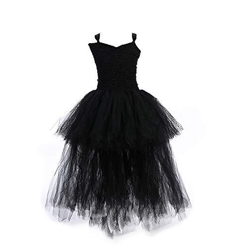 QSEFT Schwarze Mädchen Tutu Kleid Tüll V-Ausschnitt Zug Mädchen Abend Geburtstag Party Kleider Kinder Mädchen Ballkleid Kleid Halloween-Kostüm 0-9 Jahre Alt,80
