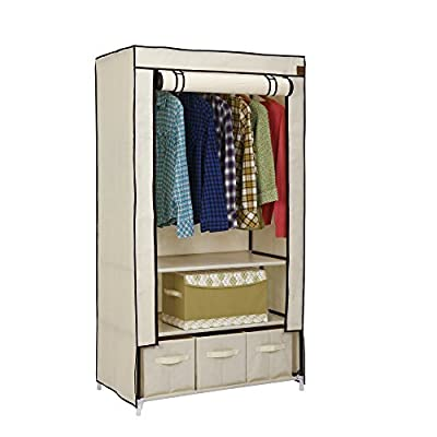 VonHaus Canvas Effect Wardrobe Clothes Cupboard Hanging Rail Storage with 2 Shelves & 3 Drawers - Beige - 88 x 50 x 160cm - inexpensive UK wordrobe store.
