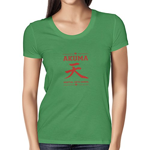 NERDO - Akuma Martial Arts School - Damen T-Shirt, Größe S, (Warrior Kostüm Demon)