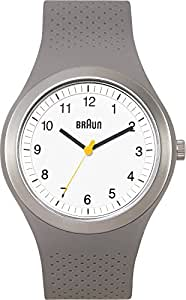 Braun Men's Quartz Watch with White Dial Analogue Display and Grey Silicone Strap