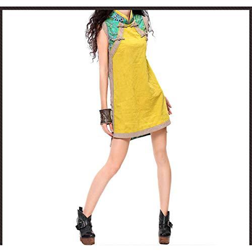 MEIZIZI Sommer Gelb Grün Stehkragen Cheongsam Hippie Vintage Schlank Kleid Festival Robe Original Kleid, Gelb, L Hippie-vintage-robe
