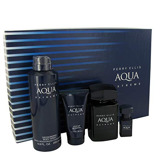 Perry Ellis Aqua Extreme by Perry Ellis Gift Set - 3.4 oz Eau De Toilette Spray + .25 oz Mini EDT Spray + 6.8 oz Body Spray + 1.7 oz Shower Gel / - (Men) - Perry Ellis Edt 3.4