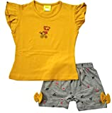 Shaishav Wears Baby Girl's Cotton T-Shirt and Shorts Set (Mustard Yellow,4-5 Years)