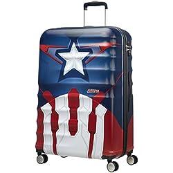 American Tourister Disney Wavebreaker Marvel - Maleta, Cuatro Ruedas, Multicolor (Captain America Close-Up), L (77cm-96L)
