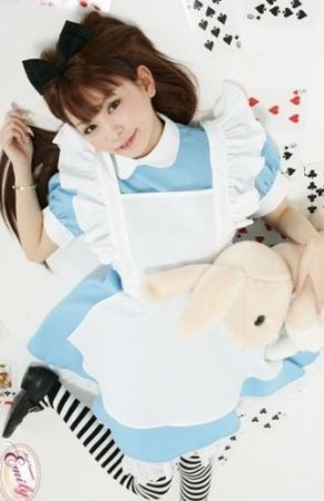 Cute maid Alice cosplay costume neat and clean white light