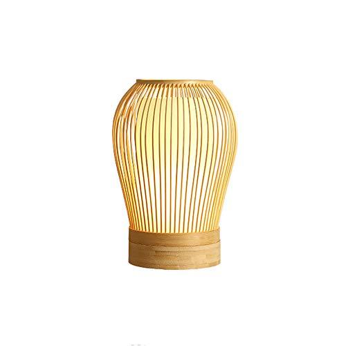 YZPTD Lámpara de mesa de bambú de estilo creativo LED lámpara de estudio sala de estar dormitorio de madera lámpara de noche lámpara de noche lámpara japonesa (Color : A)