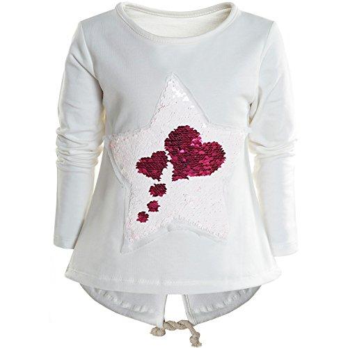Mädchen Wende-Pailletten Long Shirt Bluse Pullover Langarm Sweat Shirt 21000, Farbe:Weiß;Größe:104