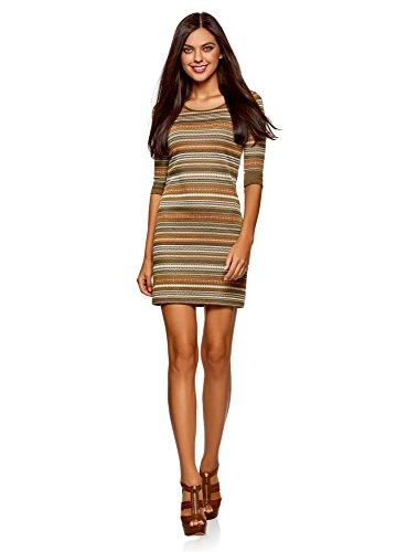 oodji Ultra Damen Jacquard-Kleid mit Geometrischem Muster, Grün, DE 40 / EU 42 / L -