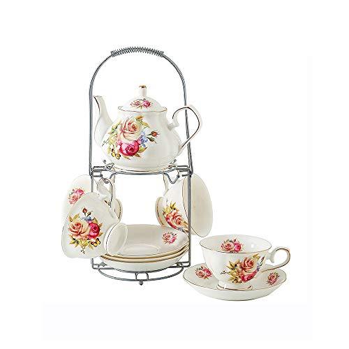ufengke-ts 9 Stück Weiß Englisch Keramik Tee Set Mit Metall Ständer, Gelbe Rose Druck Goldenen Rand Teeservice Service Kaffee Set, Für Geschenk und Haushalt