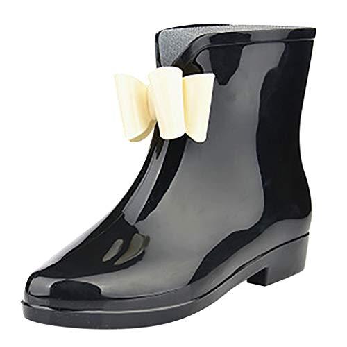 Piabigka Stivaletti Donna in Gomma PVC,Stivali di Gomma alla Moda Donna Stivali da Pioggia Stivaletti da Equitazione Chelsea Boots Impermeabile Antiscivolo Scarpe per Do