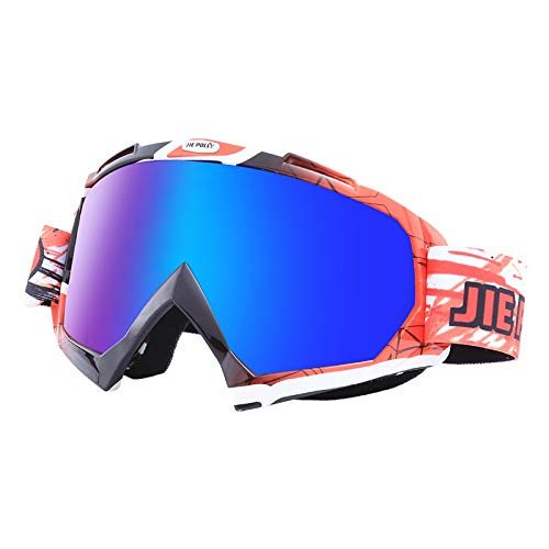 SonMo Motorrad Brille Arbeitsbrille Schneebrille Sportbrille Skibrille Radbrille Snowboardbrille Nachtsichtbrille TPU Rot Schwarz Weiß Skibrille Winddicht Blendschutz mit UV Schutz